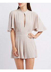 Cut-Out Mock Neck Romper