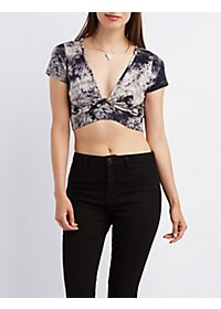 Tie-Dye Knotted Crop Top