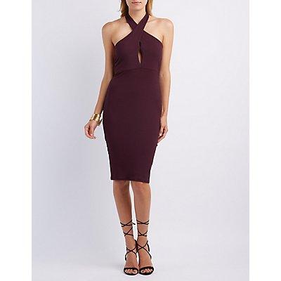 Ribbed Halter Midi Dress