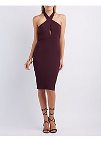 Ribbed Halter Midi Dress