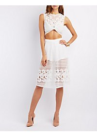 Floral Mesh Crop Top & Skirt Hook-Up