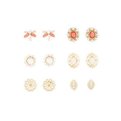 Gemstone & Filigree Stud Earrings - 6 Pack