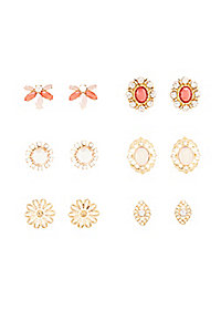 Gemstone & Filigree Stud Earrings - 6 Pack