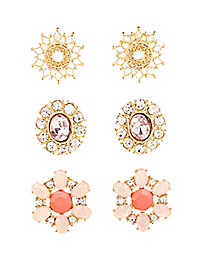 Gemstone Medallion Earrings - 3 Pack