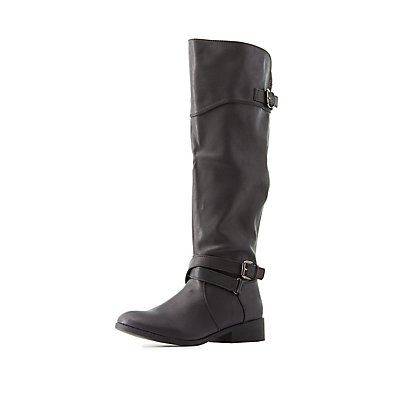 Qupid Buckled Knee-High Boots
