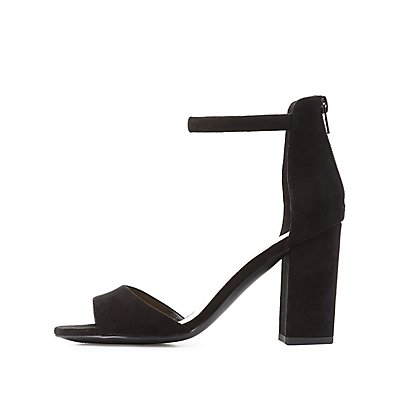 Qupid Two-Piece Chunky Heel Sandals