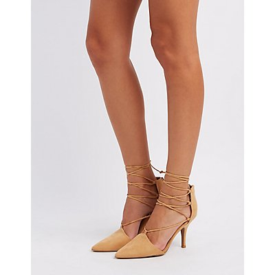 Qupid Lace-Up Pointed Toe Pumps