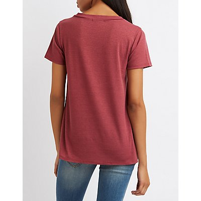 Ribbed V-Neck Pocket Tee