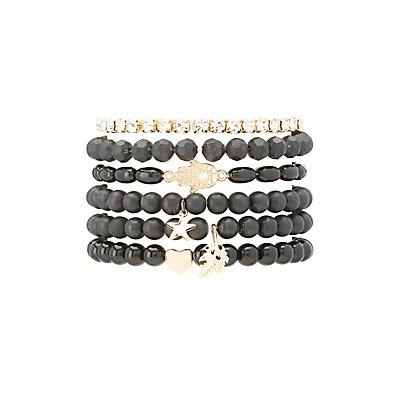Bead & Rhinestone Layering Bracelets - 6 Pack