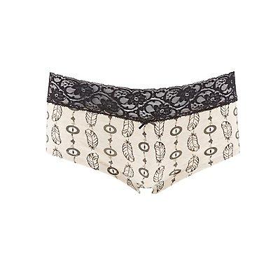 Printed Lace-Trim Boyshort Panties