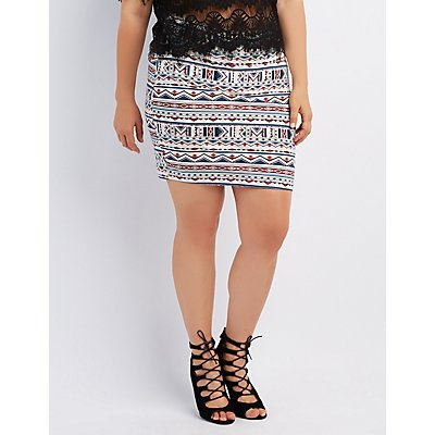 Plus Size Printed Bodycon Skirt