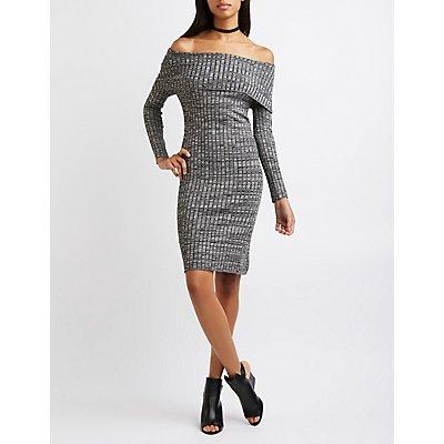 Marled Off-The-Shoulder Sweater Dress