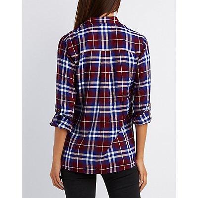 Plaid Oversize Button-Up Shirt