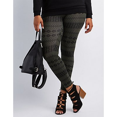 Plus Size Tribal Printed Leggings