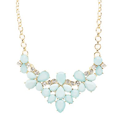 Colored Faceted Stone Bib Necklace