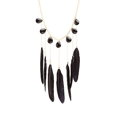 Feather & Gemstone Statement Necklace