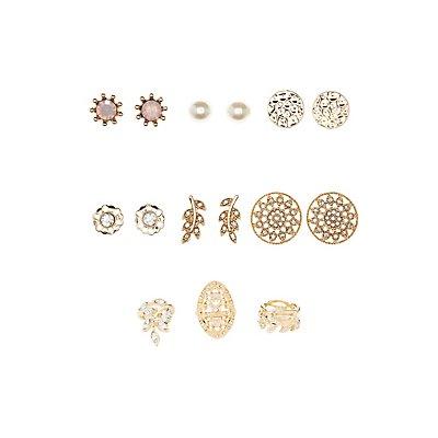 Embellished Filigree Rings & Earrings - 9 Pack