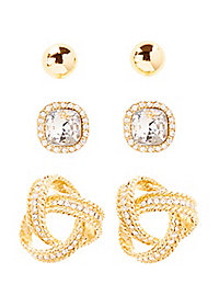 Knot, Dome, & Gem Earrings - 3 Pack