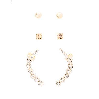 Rhinestone Ear Cuff & Stud Earrings - 3 Pack