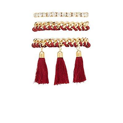 Chain, Tassel & Rhinestone Bracelets - 3 Pack