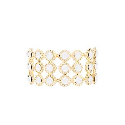 Faceted Stone & Filigree Stretch Bracelet
