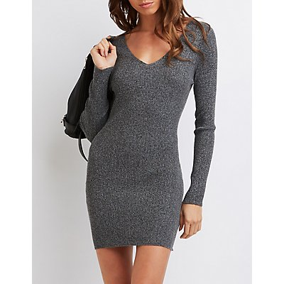 Marled V-Neck Sweater Dress