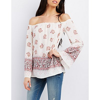 Floral Print Off-the-Shoulder Blouse