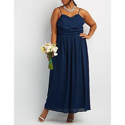 Plus Size Ruched Surplice Maxi Dress