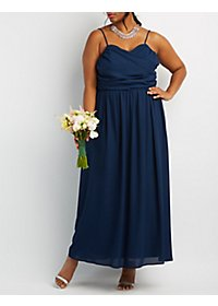 Plus Size Ruched Surplice Maxi Dress