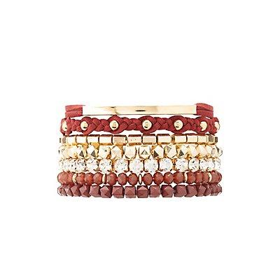 Bead & Rhinestone Layering Bracelets - 7 Pack
