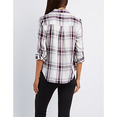 Lightweight Plaid Button-Up Shirt