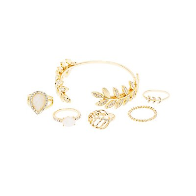 Embellished Leaf Bracelet & Rings Set