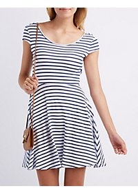 Striped Wrap-Back Skater Dress