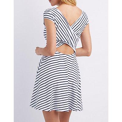 Striped Wrap-Back Skater Dress