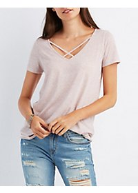 Marled Strappy Tee