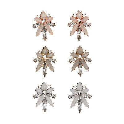 Gemstone Cluster Stud Earrings - 3 Pack