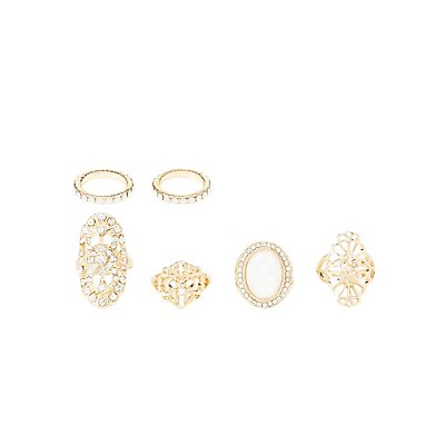 Embellished Filigree Rings & Midi Rings - 6 Pack