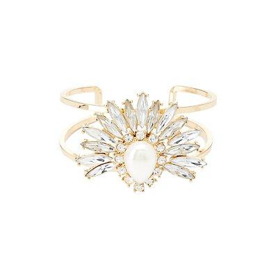Pearl Bead & Rhinestone Cluster Cuff Bracelet