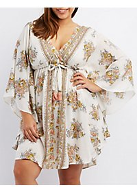 Plus Size Floral Print Kaftan Dress