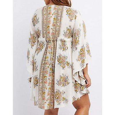 Plus Size Floral Print Kaftan Dress