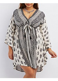 Plus Size Printed Kaftan Dress