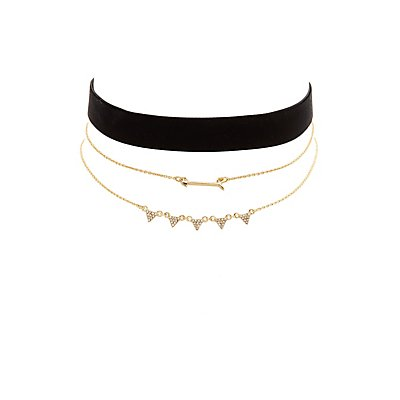 Velvet Choker & Layering Necklaces - 3 Pack