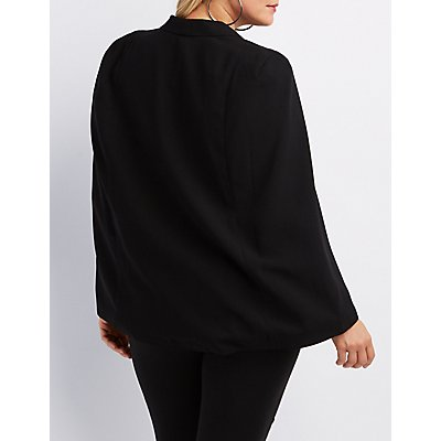 Plus Size Structured Cape Blazer