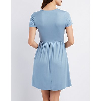 Keyhole Cut-Out Skater Dress