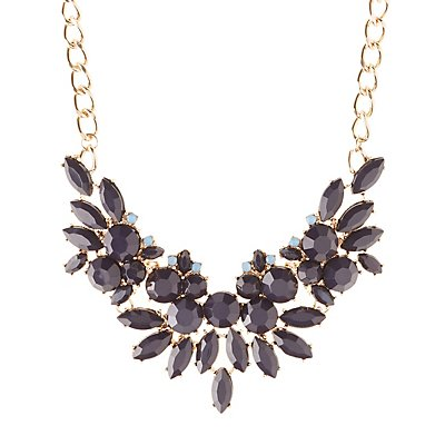 Floral Motif Faceted Stone Bib Necklace