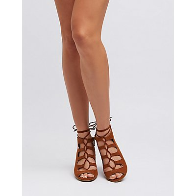 Bamboo Cut-Out Lace-Up Sandals