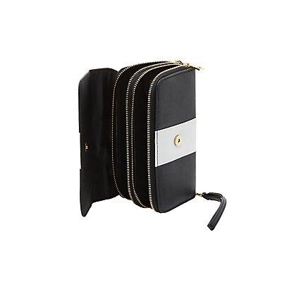 Striped Double Zipper Wristlet Wallet