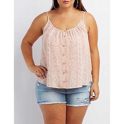 Plus Size Floral Swing Tank Top