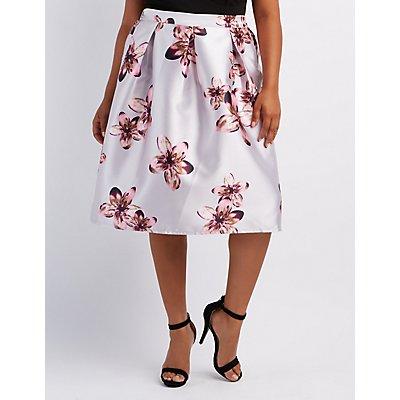 Plus Size Floral Midi Skirt