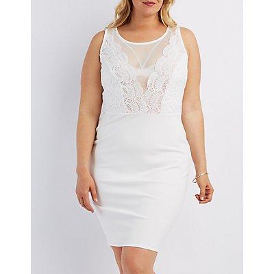 Plus Size Crochet Bodice Bodycon Dress